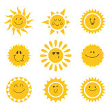 Vector set of sun icons. Collection of suns Stock Photo