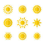 Vector set of sun icons Royalty Free Stock Image