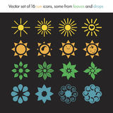 Vector set of 16 sun icons. Set of sun icons from leaves, drops, nature logo, ecology Stock Photography
