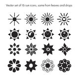 Vector set of 16 sun icons. Set of sun icons from leaves, drops, nature logo, ecology Stock Photo
