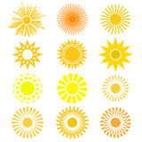 Vector set of sun symbol. Different views of sun in yellow and o Royalty Free Stock Photo