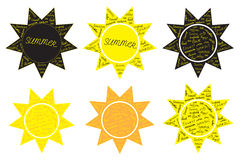 Vector set of sun, vacation Stock Photography