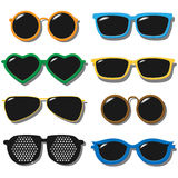 Vector Set of sunglasses. Colorful set of sunglasses, hand drawn vector illustration Stock Photos