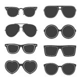 Vector set of sunglasses silhouettes Royalty Free Stock Images