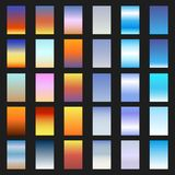 Vector set of  sunset and sunrise sky gradients. A set of backgrounds Stock Photography