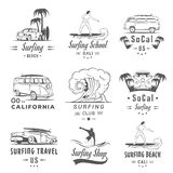 Vector Set Surf Badges, Label and Logos. Set of vintage surfing graphics, emblems and badges. Surf collection retro sign and logos. Surf elements and labels Royalty Free Stock Photos