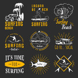 Vector Set Surf Badges, Sign and Logos. Set of vintage surfing graphics, emblems and badges. Surf collection retro sign and logos. Surf elements and labels Royalty Free Stock Photo