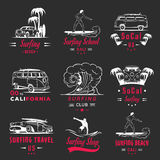 Vector Set Surf Badges, Sign and Logos. Set of vintage surfing graphics, emblems and badges. Surf collection retro sign and logos. Surf elements and labels Stock Photos