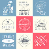 Vector Set Surf Badges, Sign and Logos. Set of vintage surfing graphics, emblems and badges. Surf collection retro sign and logos. Surf elements and labels Royalty Free Stock Images