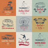 Vector Set Surf Badges, Sign and Logos. Set of vintage surfing graphics, emblems and badges. Surf collection retro sign and logos. Surf elements and labels Stock Image