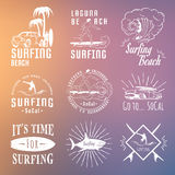 Vector Set Surf Badges, Sign and Logos. Set of vintage surfing graphics, emblems and badges. Surf collection retro sign and logos. Surf elements and labels Royalty Free Stock Photography