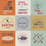 Vector Set Surf Badges, Sign and Logos. Set of vintage surfing graphics, emblems and badges. Surf collection retro sign and logos. Surf elements and labels Stock Images