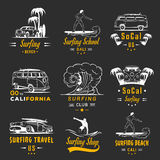 Vector Set Surf Badges, Sign and Logos. Set of vintage surfing graphics, emblems and badges. Surf collection retro sign and logos. Surf elements and labels Stock Photo