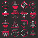 Vector Set Surf Badges, Sign and Logos. Set of vintage surfing graphics, emblems and badges. Surf collection retro sign and logos. Surf elements and labels Stock Photography