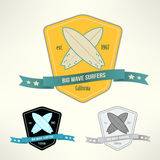 Vector set of surf badges. T-shirt surfboard Royalty Free Stock Image