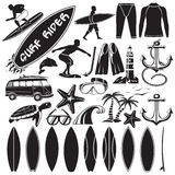 Vector set of surfing design elements  Royalty Free Stock Photo