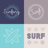 Vector set of surfing logo design templates Royalty Free Stock Photos