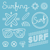Vector set of surfing logos. Vector set of surfing logo design templates in trendy linear style - summer and surf concepts Stock Image