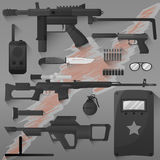Vector set of swat, police gear. Icons of army combat weapons: rifle and grenade, gun and armor, bullet and radio. Military symbols. Flat illustration  on Stock Image
