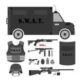 Vector set of swat, police gear. Swat bus, shield, helmet, shotg. Un, submachine gun, sniper rifle, bullets, three variations of grenades, bulletproof vest and Royalty Free Stock Photo