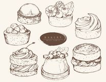 Vector set of assorted pastries stock illustration