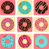 Vector set of sweet donuts flat style. Vector collection of sweet donuts flat style Royalty Free Stock Image