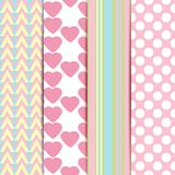 Vector set of sweet seamless patterns. Or textures with polka dots, geometry, heart background. Pattern swatches with global colors - easy to change all vector illustration