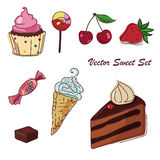 Vector set of sweets drawing. Vector set of sweets with ice cream, cake and cupcake Stock Images