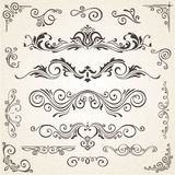 Vector set of Swirl Elements and Corners for design. Calligraphic page decoration, Labels, banners, baroque Frames Stock Photography