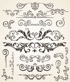 Vector set of Swirl Elements and Corners for design. Calligraphic page decoration, Labels, banners, baroque Frames Royalty Free Stock Photography
