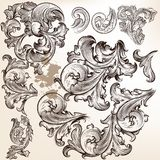 Vector set of swirls in vintage floral style Royalty Free Stock Photography