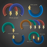 Vector set of symbol stylized writing pen. Vector EPS10 Royalty Free Stock Photography