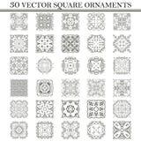 Vector set of symbols. Abstract square ornament. Decorative retr Stock Images
