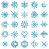 Vector set symbols of blue snowflakes - simply winter icons in flat design - isolated on white background Royalty Free Stock Image