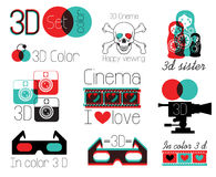 Vector set symbols  3 d cinema glasses. Royalty Free Stock Image