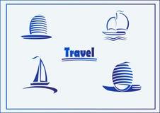 Vector Set of symbols yachts, ships. Vector postcard advertising icons yachts or ships Royalty Free Stock Photo