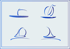 Vector Set of symbols yachts, ships. Vector postcard advertising icons yachts or ships Royalty Free Stock Images