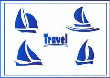 Vector Set of symbols yachts, ships. Vector postcard advertising icons yachts or ships Royalty Free Stock Photos