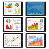 Vector set of the tablets with the charts. Set of the tablets with the charts. The graph on the screen of the gadget. Vector illustration Stock Images