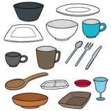 Vector set of tableware. Hand drawn cartoon, doodle illustration stock illustration