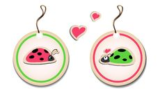 Vector set of tags with ladybirds in love Stock Photo