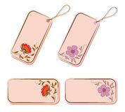 Vector set of tags and stickers with flowers. Royalty Free Stock Image