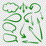 Vector Set of Talk Clouds and Arrows, Green Drawings on Transparent Background. stock photos