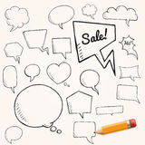 Vector set of talk and think bubbles with yellow pencil, group of doodle speech bubbles Royalty Free Stock Images