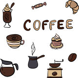 Vector set of tasty coffee hand drawn doodles Stock Images