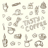 Vector set of tasty coffee hand drawn doodles Stock Image