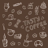 Vector set of tasty coffee hand drawn doodles Stock Photos