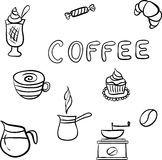 Vector set of tasty coffee hand drawn doodles Royalty Free Stock Photography