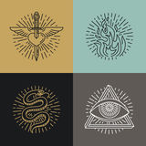 Vector set of tattoo styled icons. And emblems in trendy mono line style - linear illustrations - heart, fire, snake and eye Stock Image