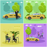 Vector set of taxi service company concept banners. People catch cab on a street. Call center. Royalty Free Stock Images